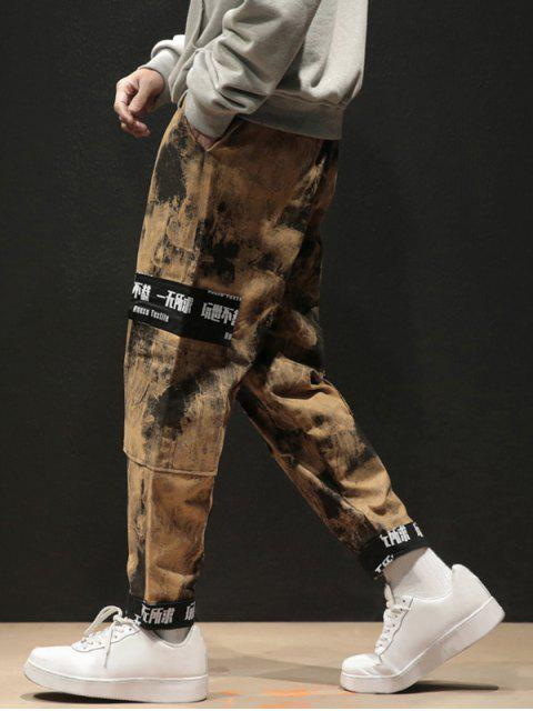 lady Chinese Characters Camo Print Pockets Cargo Pants - YELLOW XL Mobile