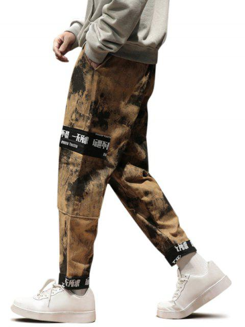 ladies Chinese Characters Camo Print Pockets Cargo Pants - YELLOW M Mobile