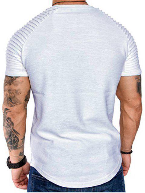 T-Shirt a Strati a Maniche Raglan con Applicazioni - Bianca 2XL Mobile