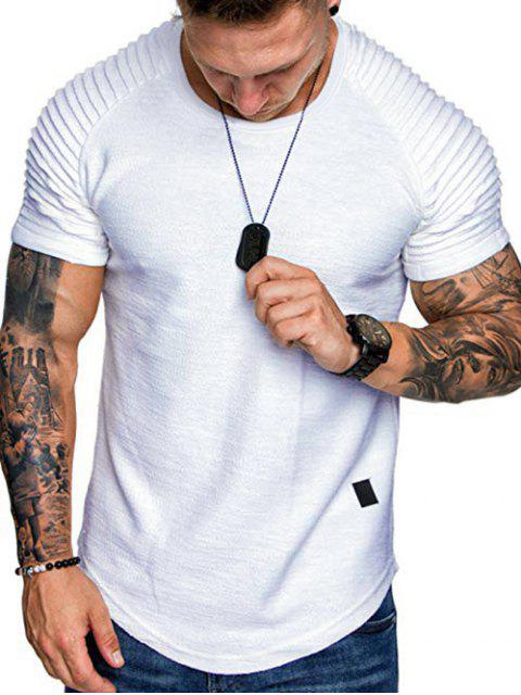 T-Shirt a Strati a Maniche Raglan con Applicazioni - Bianca 3XL Mobile