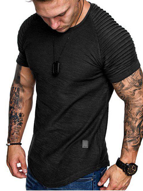 T-Shirt a Strati a Maniche Raglan con Applicazioni - Nero 2XL Mobile