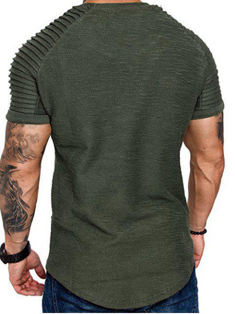 T-Shirt a Strati a Maniche Raglan con Applicazioni - Verde Felce   3XL Mobile