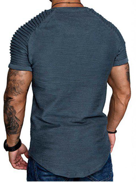 T-Shirt a Strati a Maniche Raglan con Applicazioni - Blu Marmo  2XL Mobile