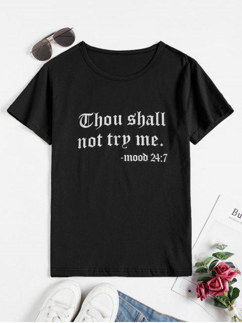 T-shirt Décontracté Slogan à Manches Courtes - Noir XL Mobile
