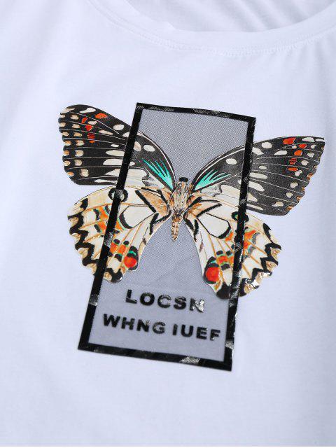 online ZAFUL Butterfly Print Short Sleeves T-shirt - WHITE 2XL Mobile