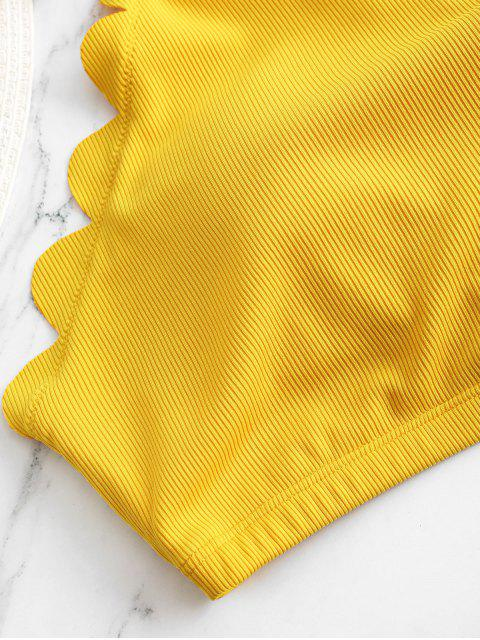 ZAFUL Blumen Gerippte Überbackene Neckholder Tankini Badebekleidung - Gelb S Mobile