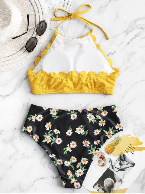 outfits ZAFUL Flower Ribbed Scalloped Halter Tankini Swimwear - YELLOW M Mobile