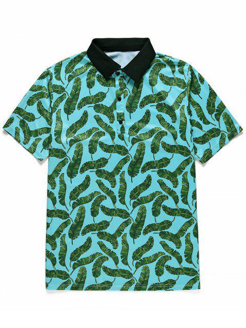 T-Shirt Stampata a Foglie con Bottoni e Maniche Corte - Blu Verde  Macaw  M Mobile