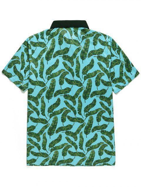 T-Shirt Stampata a Foglie con Bottoni e Maniche Corte - Blu Verde  Macaw  L Mobile