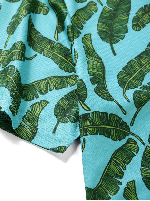 T-Shirt Stampata a Foglie con Bottoni e Maniche Corte - Blu Verde  Macaw  XL Mobile