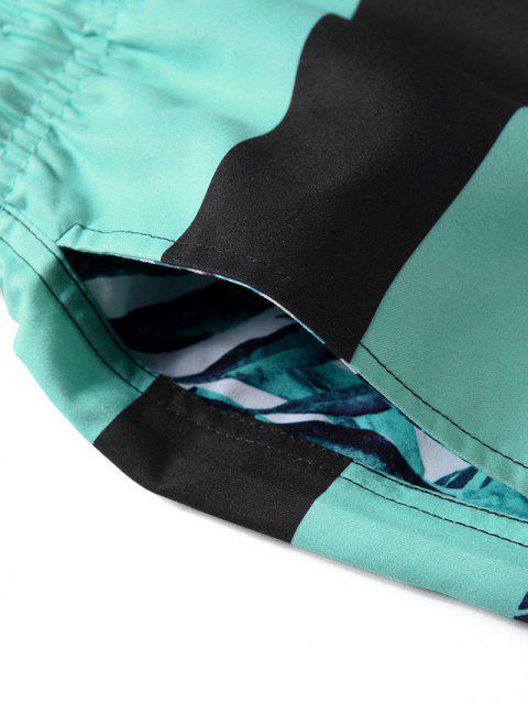 fashion Leaf Printed Drawstring Board Shorts - MEDIUM TURQUOISE L Mobile