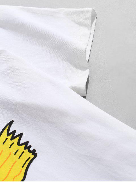 T-Shirt Grafica a Cane con Maniche Corte di ZAFUL - Bianca XL Mobile