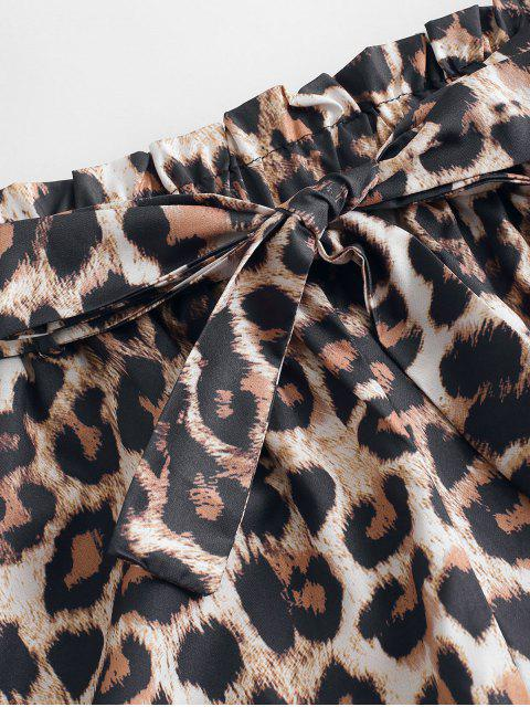 hot Leopard Print Belted Paperbag Shorts - LEOPARD S Mobile