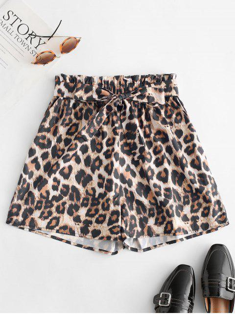 hot Leopard Print Belted Paperbag Shorts - LEOPARD M Mobile