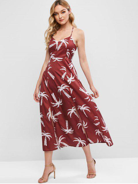 sale Palm Tree Slits Maxi Cami Dress - RED WINE XL Mobile