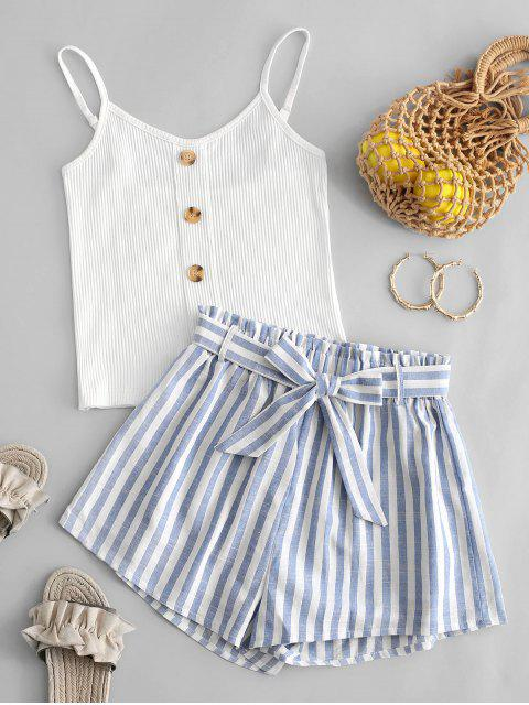 ladies Striped Buttons Belted Two Piece Suit - WHITE XL Mobile