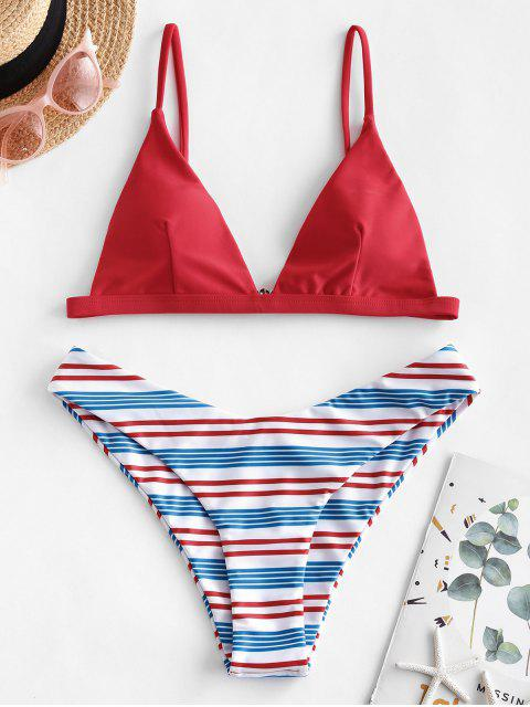 lady ZAFUL Colorful Striped High Leg Bikini Swimsuit - RED M Mobile