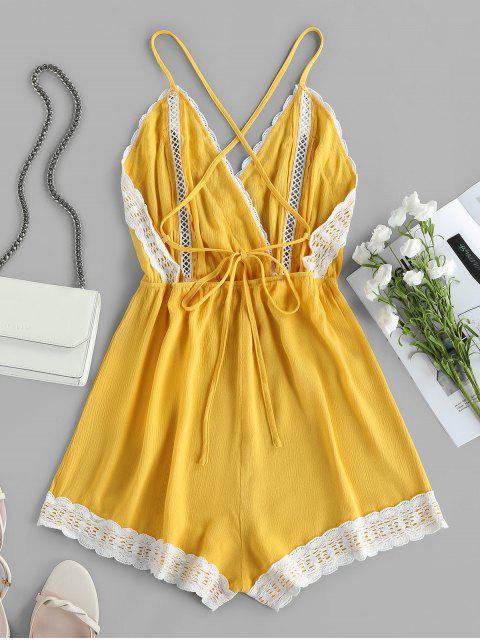 buy ZAFUL Lace Insert Hollow Out Crisscross Backless Romper - GOLDENROD L Mobile