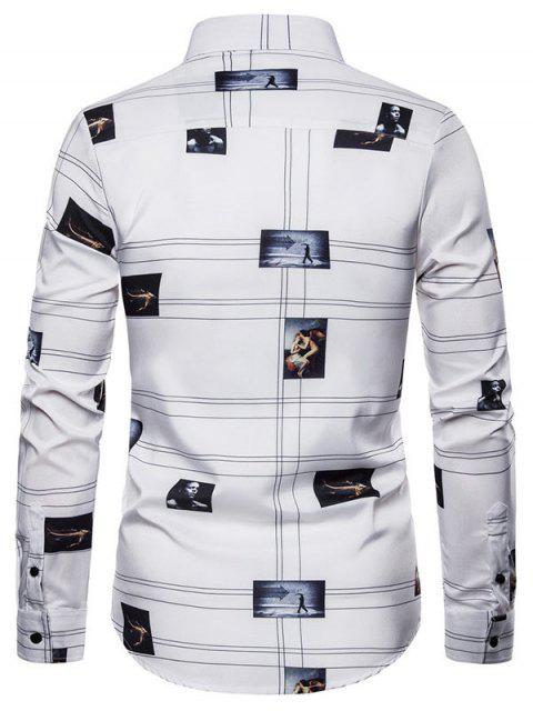 Camisa Patrón Gráfico Manga Larga Botón - Blanco 2XL Mobile