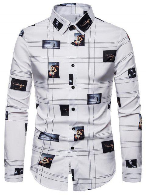 Camicia Grafica con Bottoni a Maniche Lunghe - Bianca 2XL Mobile
