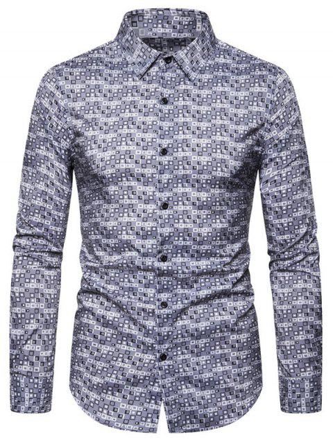shops Geometric Pattern Casual Long Sleeves Shirt - GRAY 2XL Mobile