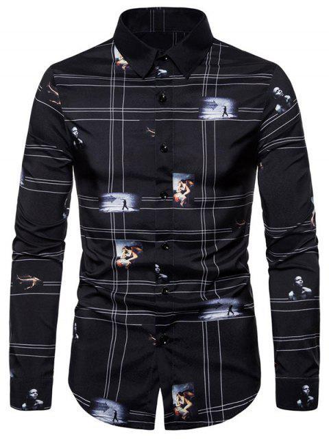 Camicia Grafica con Bottoni a Maniche Lunghe - Nero 2XL Mobile