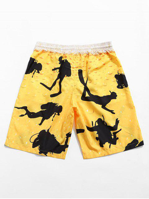 chic Character Printed Drawstring Board Shorts - RUBBER DUCKY YELLOW M Mobile