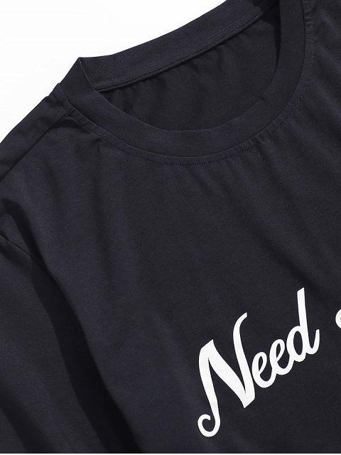 best ZAFUL Eagle Flower Letter Graphic Short Sleeve T-shirt - BLACK XL Mobile