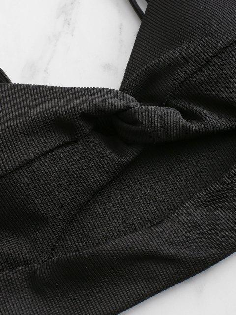 affordable ZAFUL Ribbed Twist Cutout Bikini Top - BLACK S Mobile