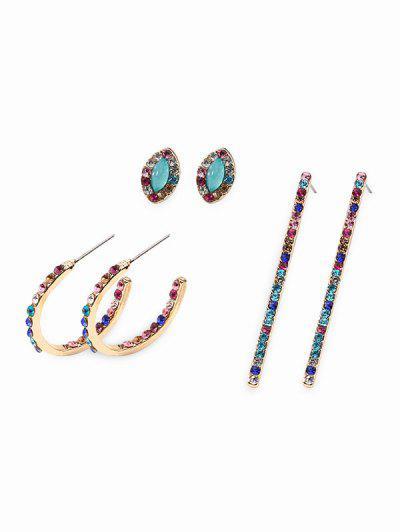 Conjunto De Aretes De Diamantes De Imitación Geométricos - Multicolor