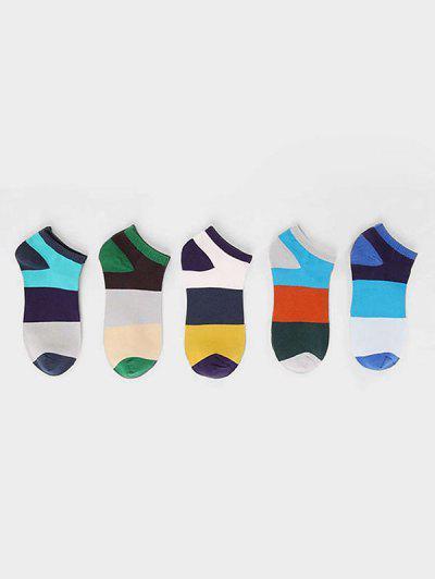 5Pairs Color blocking Pattern Cotton Socks Set