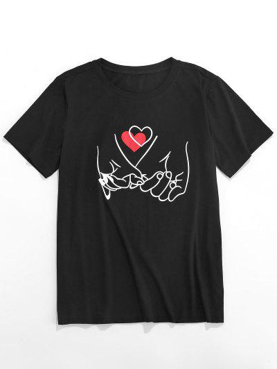 ZAFUL Valentine's Day Heart Hand Gesture Print T-shirt - Black L