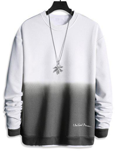 Letter Print Ombre Sweatshirt - White L