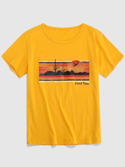 Letter Scenery Print T shirt
