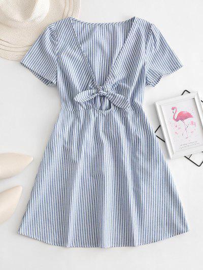 ZAFUL Knot Striped Mini Dress - Multi-a L