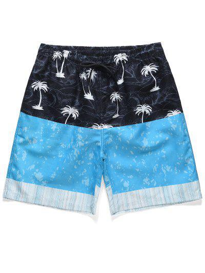 Casual Coconut Tree Pattern Board Shorts - Deep Sky Blue L