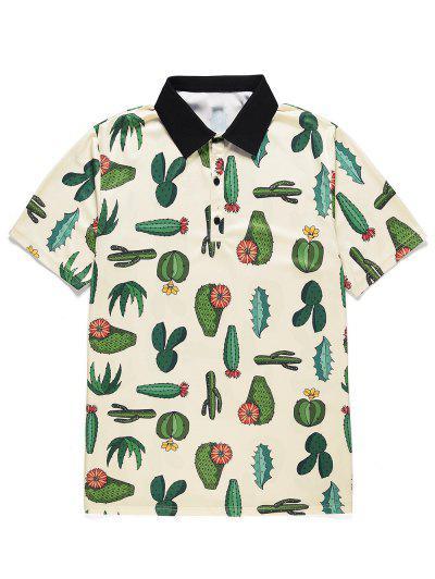 Cactus Print Button Short Sleeves T-shirt - Warm White L