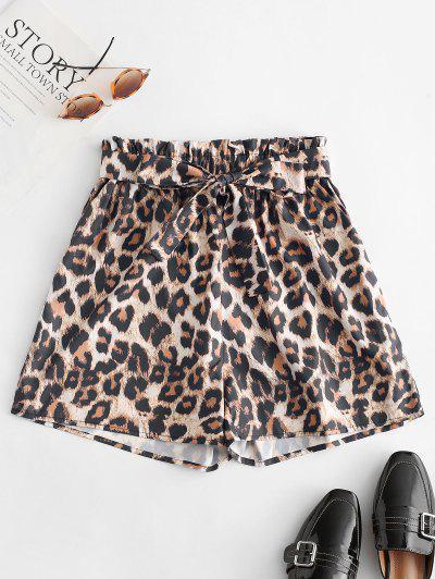 Shorts Con Cinturón Y Estampado De Leopardo - Leopardo S