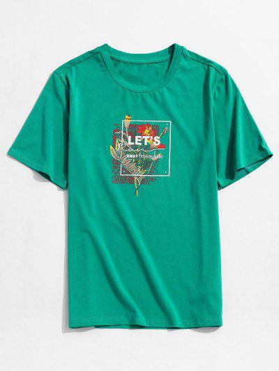 ZAFUL T-shirt De Vacances Lettre Graphique Fleur Feuille - Vert Mer Moyen Xl