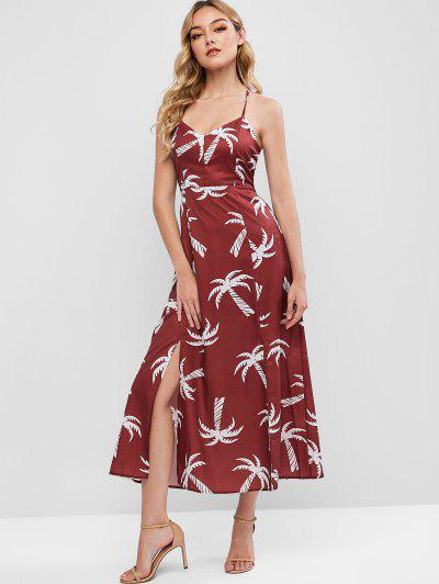 Palm Tree Slits Maxi Cami Dress - Red Wine L