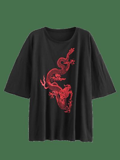 Dragon Print Oversized Longline Tee