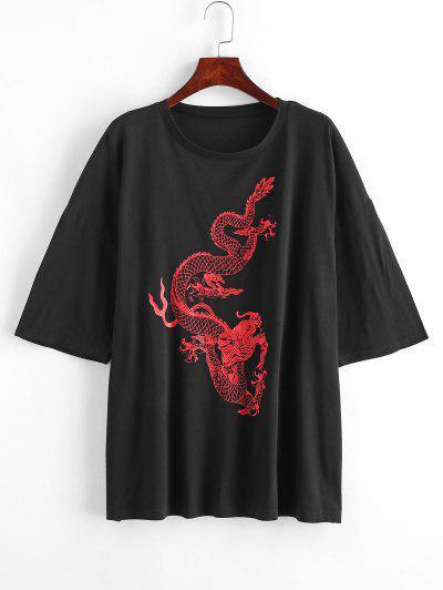 Dragon Print Oversized Longline Tee - Black S