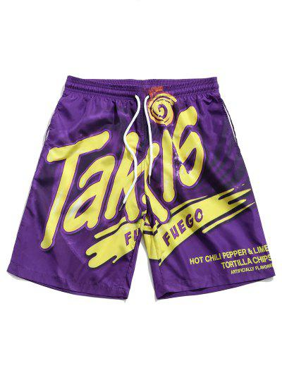 Letter Print Drawstring Beach Shorts - Purple L