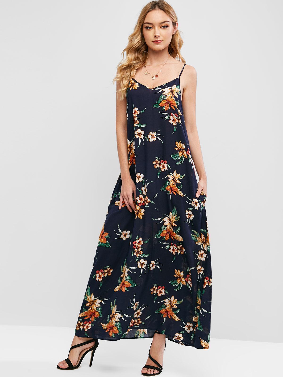 ZAFUL Cami Seam Pockets Floral Maxi Dress