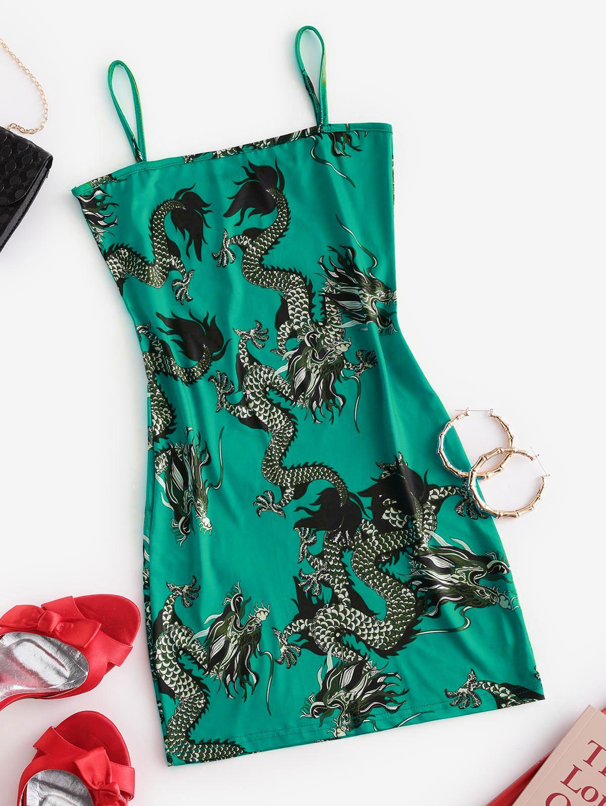 Dragon Print Oriental Cami Mini Dress