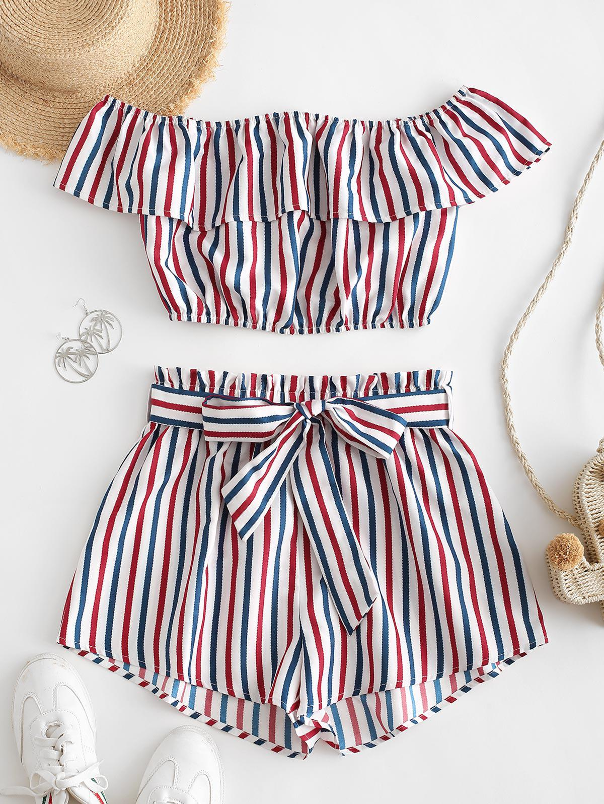 ZAFUL Striped Off Shoulder Belted Two Piece Suit thumbnail