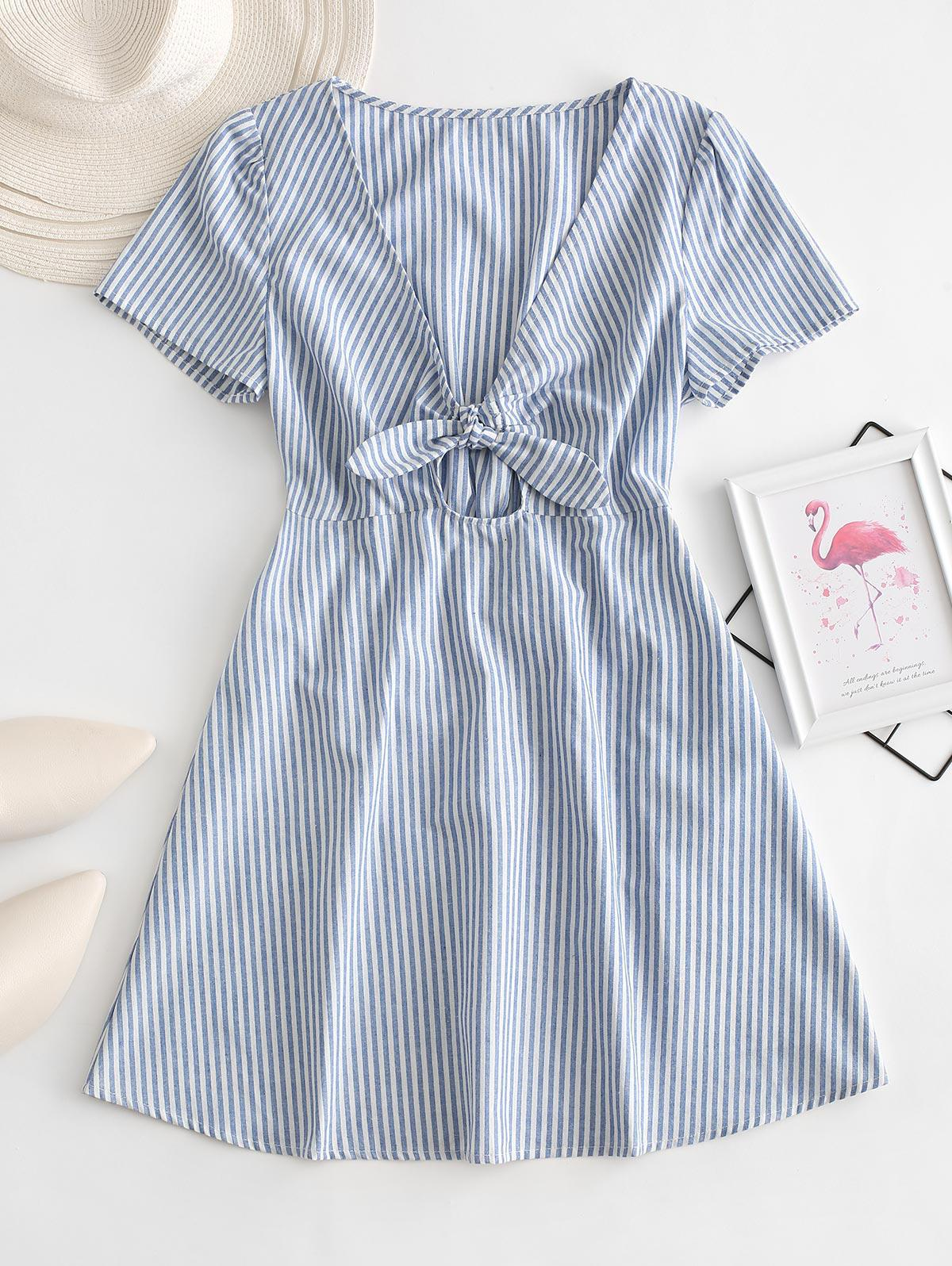 ZAFUL Knot Striped Mini Dress