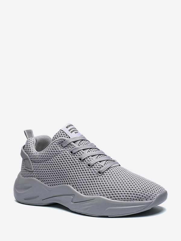 Plain Pinhole Mesh Running Sneakers