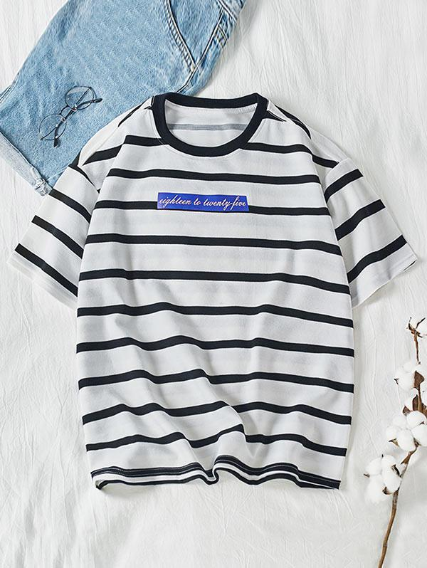 Letter Colorblock Striped Short Sleeve T-shirt фото