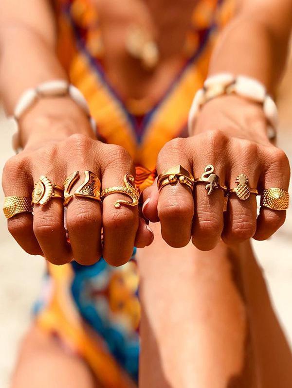 Animal Pineapple Wide Finger Rings Set